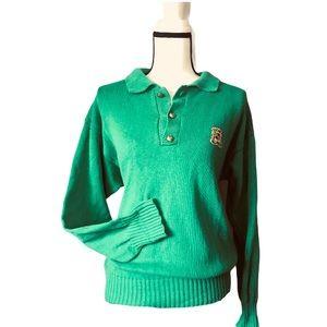 Oscar de la Renta Vintage Green Gold Sweater St.
